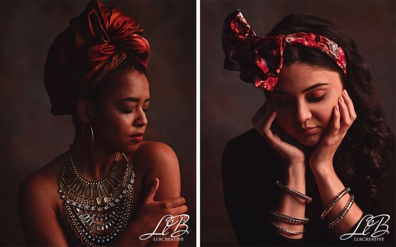 Fashion lookbook featuring headscarves and jewellery.